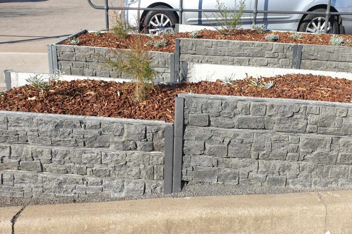 A1 Concrete Recyclers make concrete Sleepers that come in a range of colours.